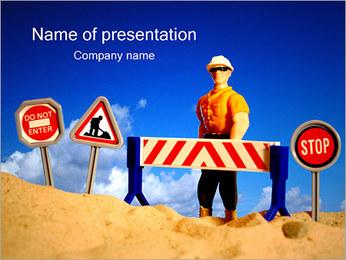 Weg in aanbouw Sjablonen PowerPoint presentatie