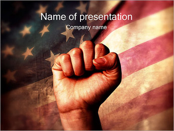US Flag with Fist PowerPoint Template