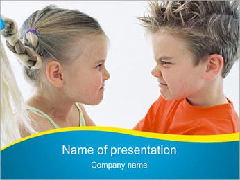 Conflict tussen jongen en meisje Sjablonen PowerPoint presentatie