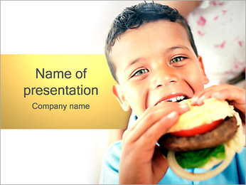 Boy and Hamburger PowerPoint Template