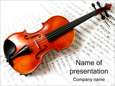 violin and music powerpoint template & backgrounds id 0000001740, Modern powerpoint