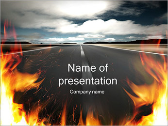Fire and Road Sjablonen PowerPoint presentatie