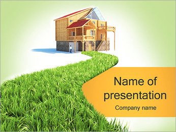 Green Path to House PowerPoint Template