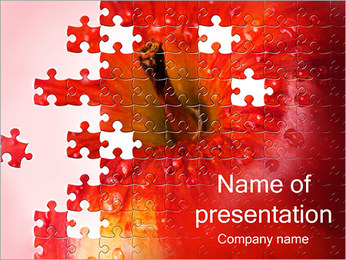 Puzzle Red Apple Sjablonen PowerPoint presentatie