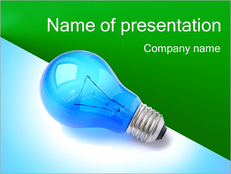 blue light bulb powerpoint template & backgrounds id 0000001939, Powerpoint templates