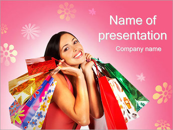 Shopping Pretty Woman PowerPoint Template - Slide 1