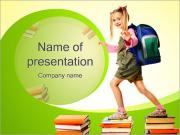 Little Girl on Books PowerPoint Template