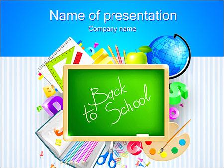 School Set Powerpoint Template Backgrounds Google Slides Id