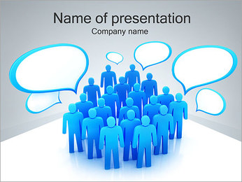 Crowd and Messages PowerPoint Template
