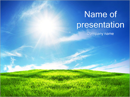 Clean Sky And Green Grass Powerpoint Template Backgrounds Id