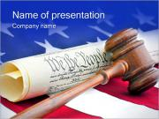 Gavel with American Flag PowerPoint Template