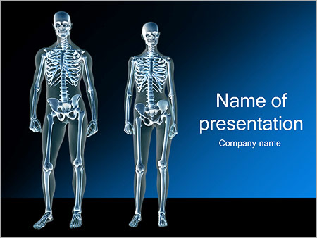 female and male skeleton powerpoint template & backgrounds id, Modern powerpoint