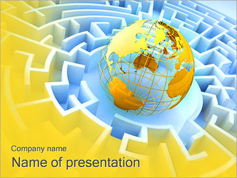 Globe and Maze PowerPoint Template