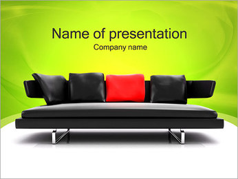 Red Pillow on Sofa PowerPoint Template