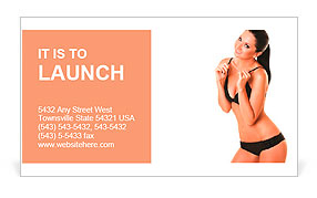 Pretty tanned woman in bikini isolated on white background Business Card Template
