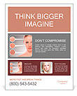 Concept skincare. Skin of beauty young woman before and after the procedure on a gray background Poster Templates
