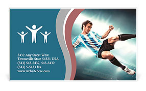 A soccer player with the ball form water Business Card Template