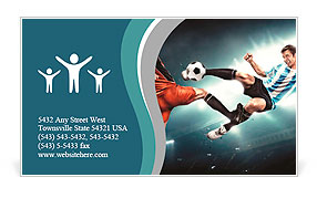 Football player makes injury to an opponent. Not fair play. Business Card Template