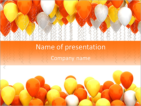 party balloons isolated on white background powerpoint template, Modern powerpoint