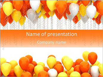 Party balloons isolated on white background PowerPoint Template