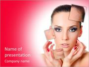 The beautiful girl with problems on face PowerPoint Templates