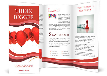 Isolated Image Of A Red Balloon Over White Brochure Template