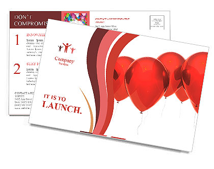Isolated image of a red balloon over white Postcard Template