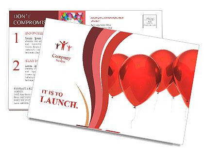 Imagem isolada de um balão vermelho sobre branco Cartões postai