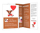 Dog in love with a red heart balloon Brochure Templates