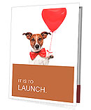 Dog in love with a red heart balloon Presentation Folder