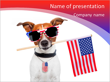 american dog with usa flag powerpoint template backgrounds google