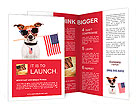 American dog with usa flag Brochure Templates