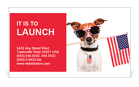 American dog with usa flag Business Card Template