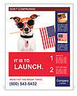 American dog with usa flag Poster Template