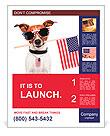 American dog with usa flag Poster Templates