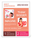 Cheerful girl with a bouquet of pink flowers Flyer Templates