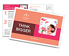 Cheerful girl with a bouquet of pink flowers Postcard Templates