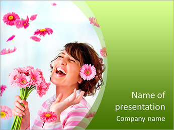 Cheerful girl with a bouquet of pink flowers PowerPoint Template