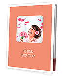 Cheerful girl with a bouquet of pink flowers Presentation Folder