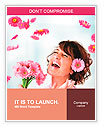 Cheerful girl with a bouquet of pink flowers Word Templates