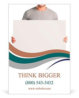 Feliz el hombre joven que muestra y visualiza el cartel listo para su texto o producto Plantillas de anuncio