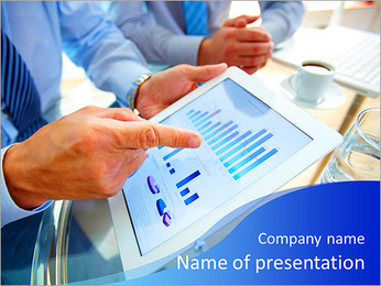 Modern people doing business, graphs and charts being demonstrated on the screen of a touch-pad PowerPoint Template