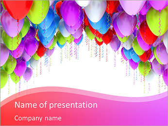 Balloons isolated on white PowerPoint Template