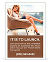 Young woman sitting on chair with laptop. Ad Template