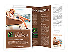 Young woman sitting on chair with laptop. Brochure Templates