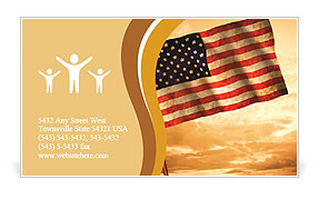Old American Flag waving over sunset, USA flag for USA Independence Day, USA The Stars and Stripes f Business Card Template