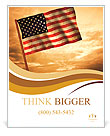 Old American Flag waving over sunset, USA flag for USA Independence Day, USA The Stars and Stripes f Poster Templates