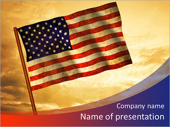Old American Flag waving over sunset, USA flag for USA Independence Day, USA The Stars and Stripes f PowerPoint Template