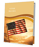 Old American Flag waving over sunset, USA flag for USA Independence Day, USA The Stars and Stripes f Presentation Folder