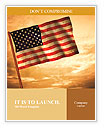 Old American Flag waving over sunset, USA flag for USA Independence Day, USA The Stars and Stripes f Word Templates